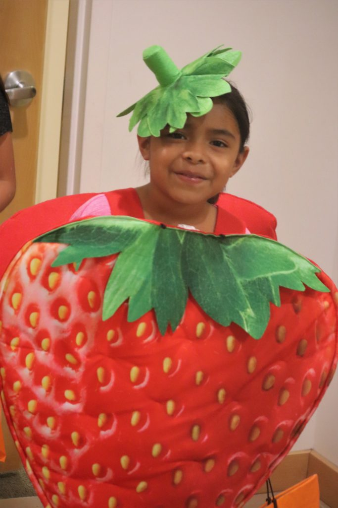 girl in strawberry costume
