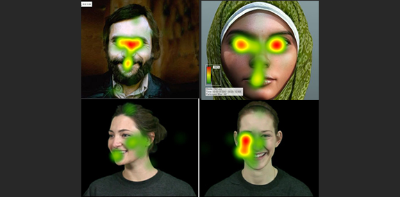 a picture of several face eye tracking heat maps